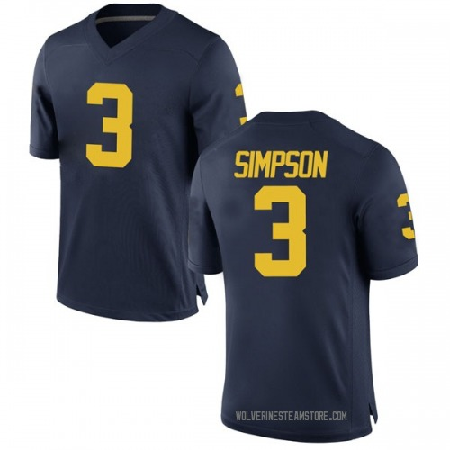 Youth Zavier Simpson Michigan Wolverines Game Navy Brand Jordan Football College Jersey