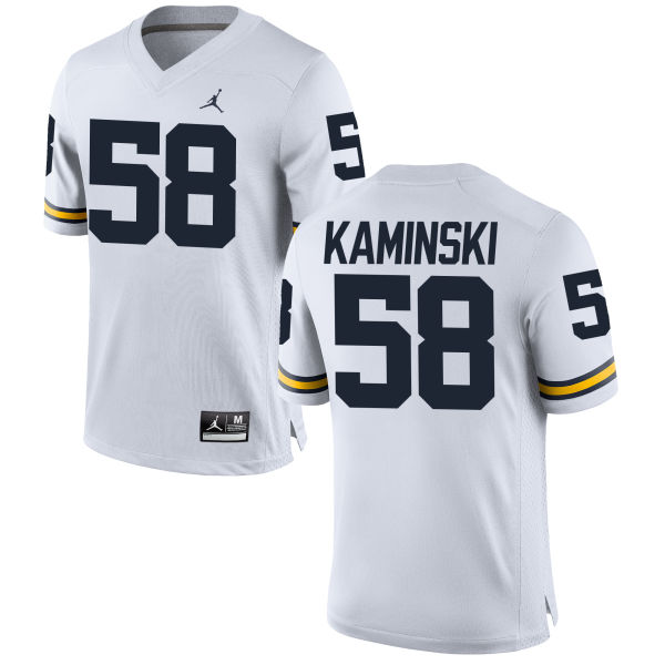 Men's Alex Kaminski Michigan Wolverines Game White Brand Jordan Football Jersey