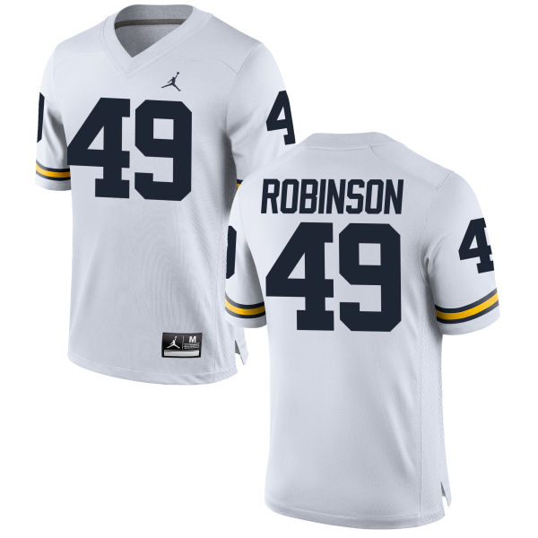 Men's Andrew Robinson Michigan Wolverines Replica White Brand Jordan Football Jersey