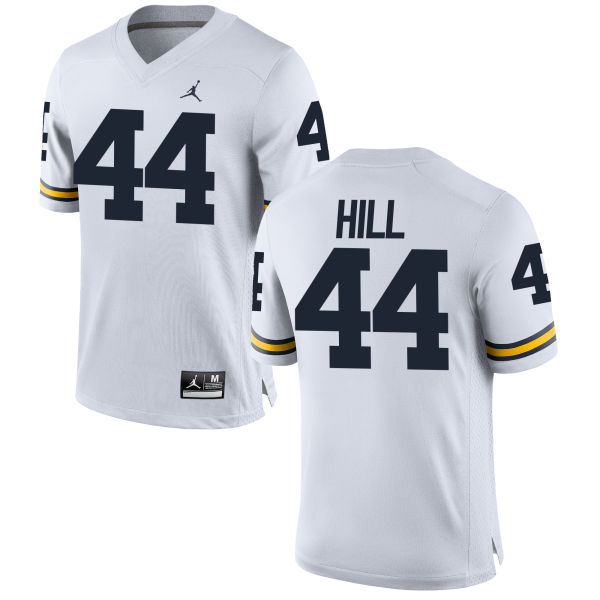 Men's Delano Hill Michigan Wolverines Replica White Brand Jordan Football Jersey