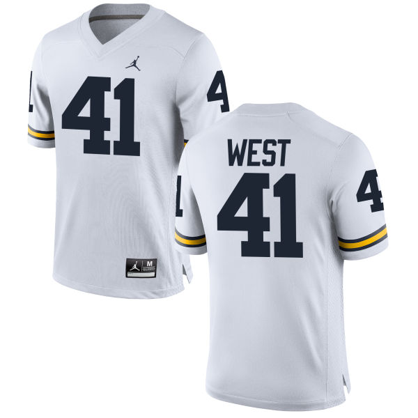Men's Jacob West Michigan Wolverines Limited White Brand Jordan Football Jersey