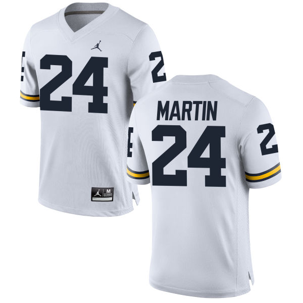 Women's Jake Martin Michigan Wolverines Replica White Brand Jordan Football Jersey