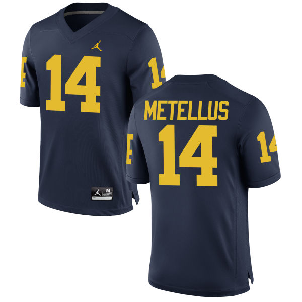 Men's Josh Metellus Michigan Wolverines Authentic Navy Brand Jordan Football Jersey