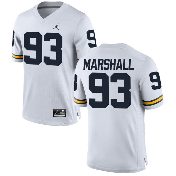 Women's Lawrence Marshall Michigan Wolverines Replica White Brand Jordan Football Jersey