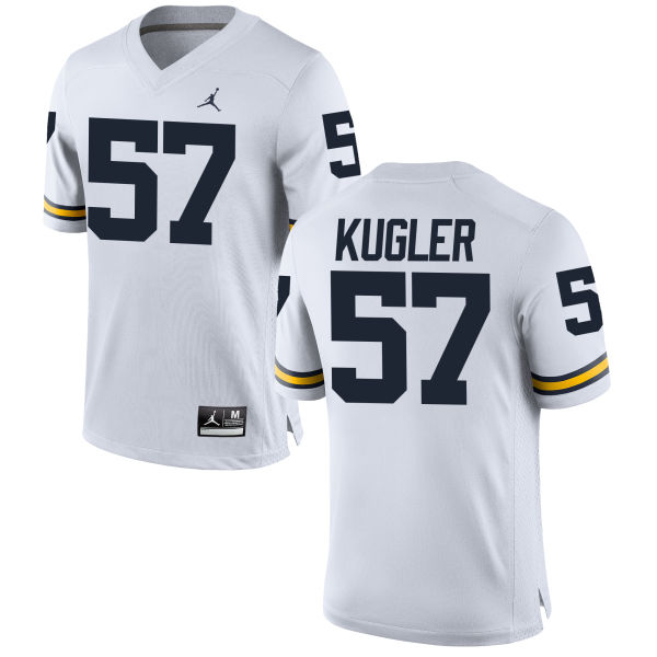 Men's Patrick Kugler Michigan Wolverines Replica White Brand Jordan Football Jersey