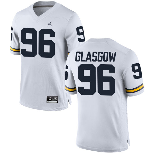 Men's Ryan Glasgow Michigan Wolverines Replica White Brand Jordan Football Jersey